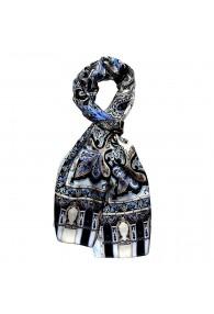 Men's Shawl Silk Silver Black Blue Paisley LORENZO CANA