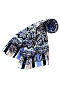 Women's Shawl Silk Silver Black Blue LORENZO CANA