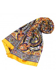 Women's Shawl Yellow Purple Black White Paisley LORENZO CANA
