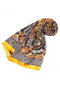 Schal für Frauen gelb lila scharz weiss Paisley LORENZO CANA