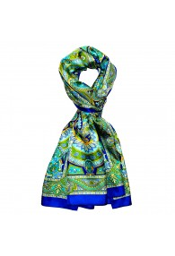 Schal für Männer grün blau türkis gelb Paisley LORENZO CANA
