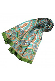 Women's Shawl Turquoise Orange Green Paisley LORENZO CANA