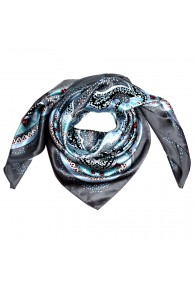 Scarf for Men light blue grey red silk floral LORENZO CANA