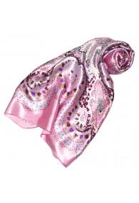 Scarf for Women pink light grey purple silk floral LORENZO CANA