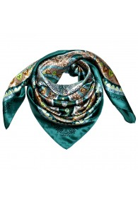 Scarf for men green turquoise brown beige silk floral LORENZO CANA