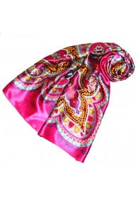 Scarf for Women pink brown red silk floral LORENZO CANA