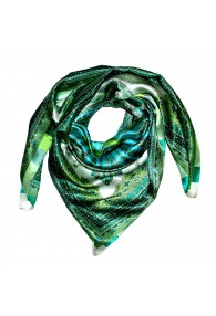 Scarf for men light green aqua petrol silk floral LORENZO CANA