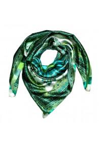 Scarf for men light green aqua petrol silk floral LORENZO CANA