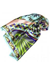 Scarf for Women turquoise orange grey green silk floral LORENZO CANA