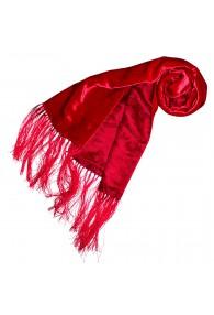 Women's Shawl Silk Velvet Damast Red LORENZO CANA