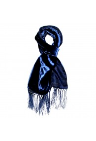 Men's Shawl Silk Velvet Damast Blue Royal LORENZO CANA