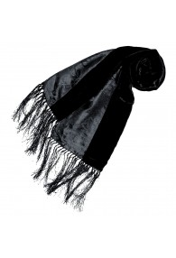 Women's Shawl Silk Velvet Damast Black LORENZO CANA