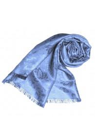 Women's Shawl Viscose Silk Paisley Light Blue LORENZO CANA