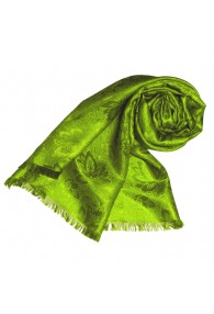 Shawl Viscose Silk Paisley Green For Women LORENZO CANA