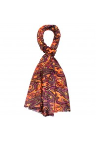 Men's Scarf Paisley Purple Orange Shawl LORENZO CANA