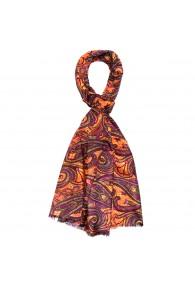 Men's Scarf Paisley Purple Orange Shawl LORENZO CANA