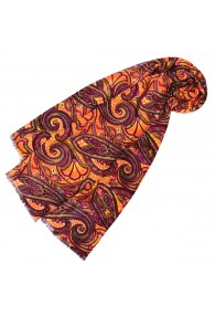 Women's Scarf Paisley Purple Orange LORENZO CANA