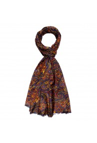 Men's Scarf Paisley Orange Yellow LORENZO CANA