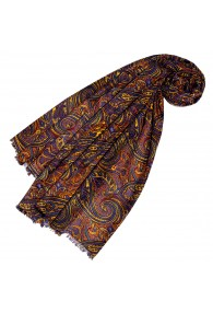 Women's Scarf Paisley Yellow Blue Orange LORENZO CANA