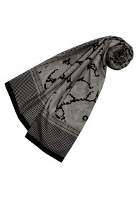 Women's Scarf Silk Cotton Paisley Grey LORENZO CANA