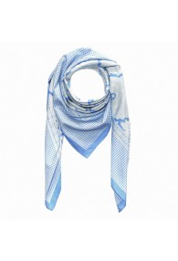 Men's Scarf Silk Cotton Paisley Blue LORENZO CANA