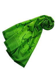 Women's Scarf Silk Cotton Paisley Green LORENZO CANA