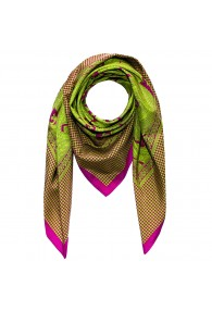 Scarf Silk Cotton Paisley Green For Men LORENZO CANA