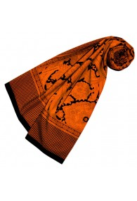 Silk Scarf Cotton Paisley Orange For Women LORENZO CANA