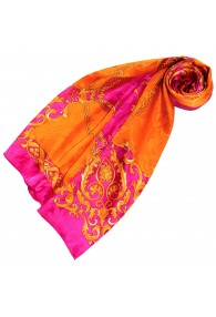 Ladie's Shawl Orange Pink Silk Floral LORENZO CANA