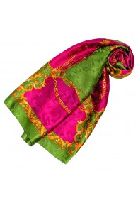 Ladie's Shawl Green Purple Gold Silk Floral LORENZO CANA