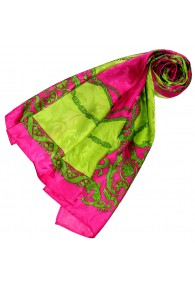 Ladie's Shawl Pink Berry Green Silk Floral LORENZO CANA