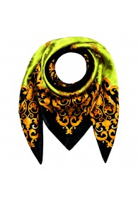 Men's Shawl Green Black Gold Silk Floral LORENZO CANA