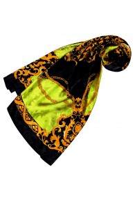 Ladie's Shawl Green Black Gold Silk Floral LORENZO CANA
