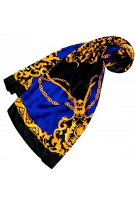 Ladie's Shawl Blue Black Gold Silk Floral LORENZO CANA
