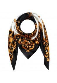 Men's Shawl White Black Gold Silk Floral LORENZO CANA