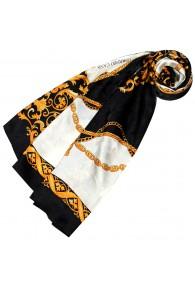 Ladie's Shawl White Black Gold Silk Floral LORENZO CANA