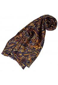 Silk scarf ladies blue orange gold Paisley LORENZO CANA