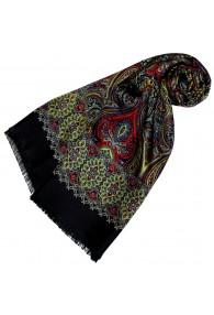 Women's Scarf Silk Wool Paisley Green LORENZO CANA