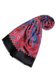Women's Scarf Silk Wool Paisley Burgundy LORENZO CANA