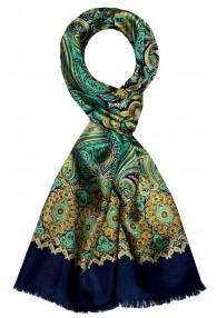 Men's Shawl Silk Wool Paisley Cyan LORENZO CANA