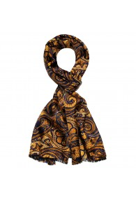 Silk Wool Scarf Paisley Gold Purple For Men LORENZO CANA
