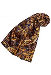 Silk Wool Scarf Paisley Gold Purple For Women LORENZO CANA