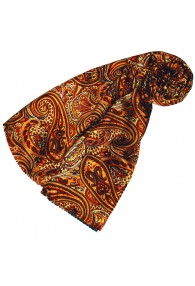 Silk Wool Scarf Paisley Gold Red Crimson For Women LORENZO CANA