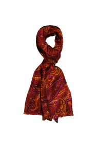 Silk Wool Scarf Paisley Gold Red Purple For Men LORENZO CANA