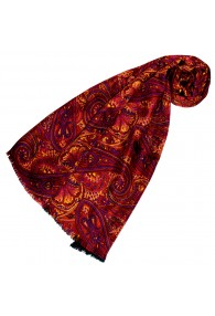 Silk Wool Scarf Paisley Gold Red Purple For Women LORENZO CANA