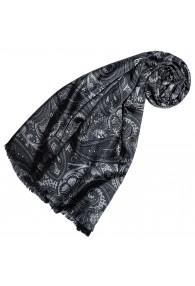 Silk Wool Scarf Paisley Black Grey Charcoal For Women LORENZO CANA