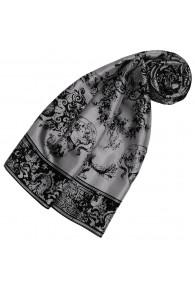 Gray Silk Scarf Floral LORENZO CANA