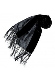 Women's Shawl Silk Velvet Damast Black LORENZO CANA