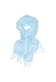 Men's Scarf 100% Linen Unicolored Light Blue LORENZO CANA