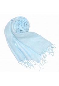 Women's Scarf 100% Linen Unicolored Light Blue LORENZO CANA